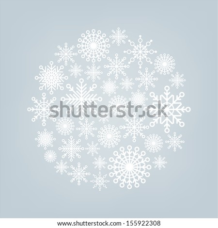 Christmas ball of snowflakes on a background - stock vector