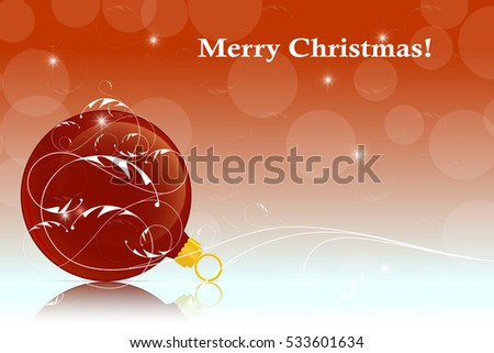 Christmas ball on a red background with reflection. Vector illustration for web pages, greeting cards, posters, stickers and printed pages.