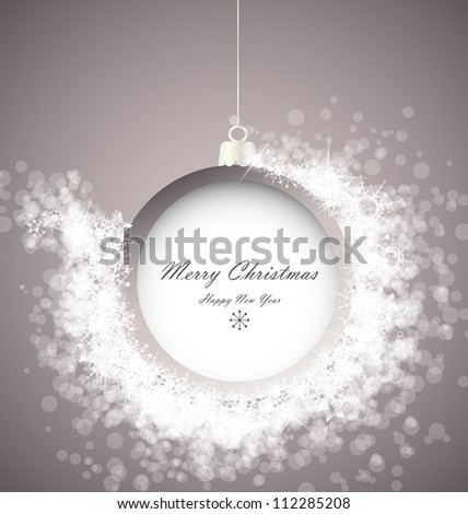 Christmas ball on abstract light background with snowflakes - stock vector
