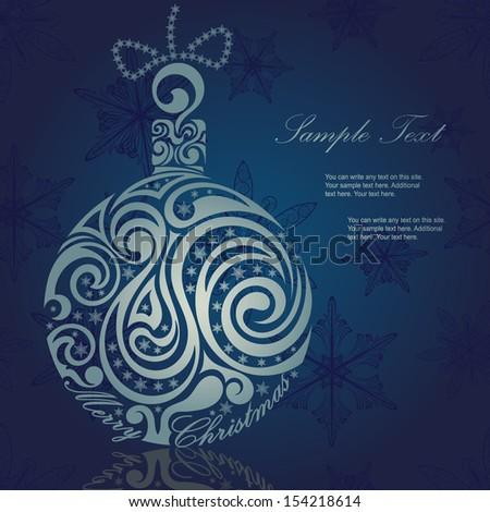 Christmas ball on blue background - stock vector