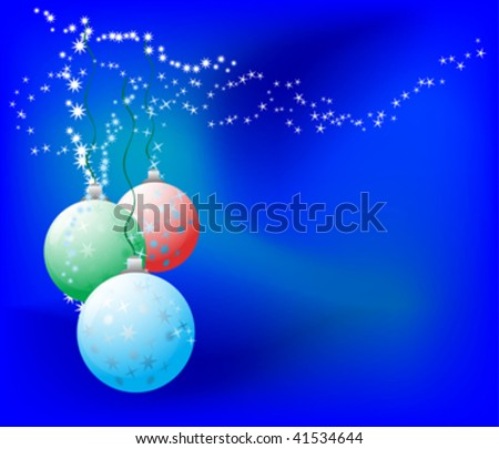 christmas ball on blue background