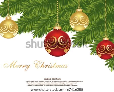christmas ball on christmas tree - stock vector