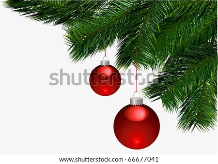 christmas ball on christmas tree branch vector - stock vector