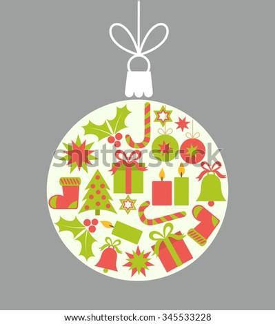 Christmas ball ornament. Vector illustration - stock vector