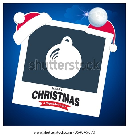 Christmas Ball Ornaments card Design. Picture frame with Santa Hat on top and Merry Christmas typography on glowing Snowflakes Vector background - stock vector