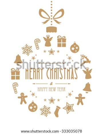 christmas ball ornaments gold isolated background - stock vector
