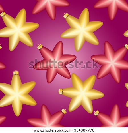 Christmas ball pattern, New year decorations. vector. Wallpaper with bow and ribbon. Sparkles and bokeh. Shiny and glowing