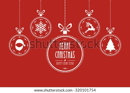 christmas ball red background - stock vector