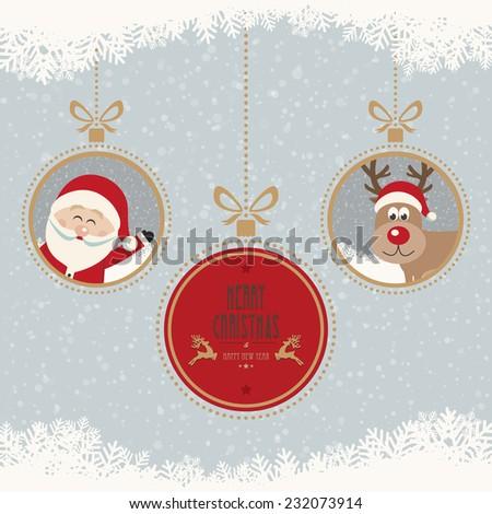 christmas ball santa reindeer merry christmas snowflakes background - stock vector