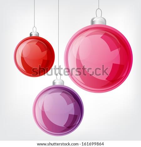 Christmas ball set. Vector design elements  - stock vector