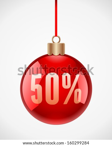 Christmas ball vector background. Sale 50% off. - stock vector