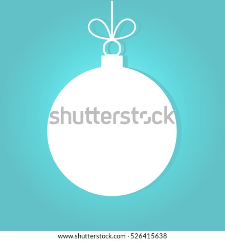 Christmas ball white ornament on blue background illustration