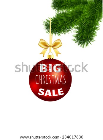 "Christmas ball with a gold bow and  inscription "" Big Christmas sale"" on the Christmas tree isolated on white background - stock vector"