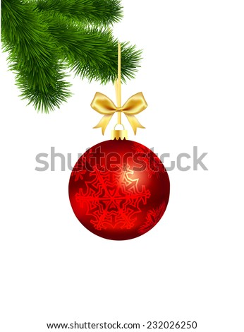 Christmas ball with a gold bow on the Christmas tree isolated on white background - stock vector