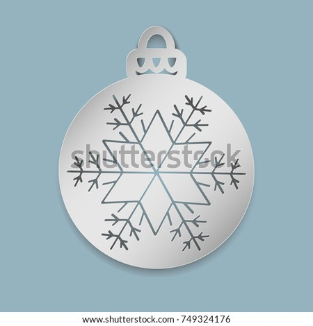 Christmas Ball Snowflake Cut Out Paper Stock Vector 749324176 ...