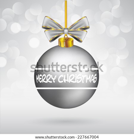 Christmas ball with bow and Merry Christmas text on sparkling background. - stock vector