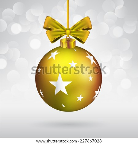 Christmas ball with bow and star shape on sparkling background. - stock vector