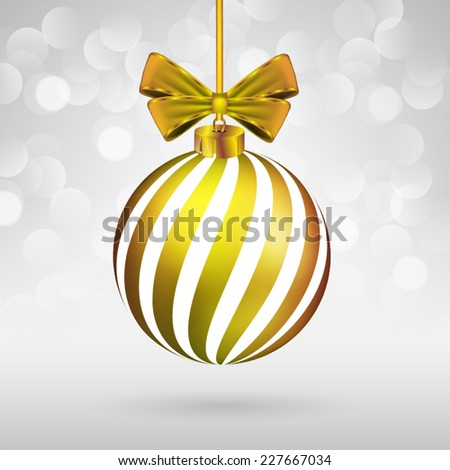 Christmas ball with bow on sparkling background. - stock vector