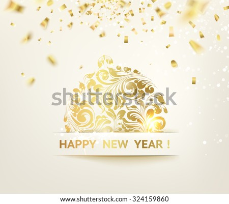 Christmas ball with curves of ribbon confetti. Golden confetti falls on the background. Happy new year 2016. Holiday card. Template for your design. Vector illustration.