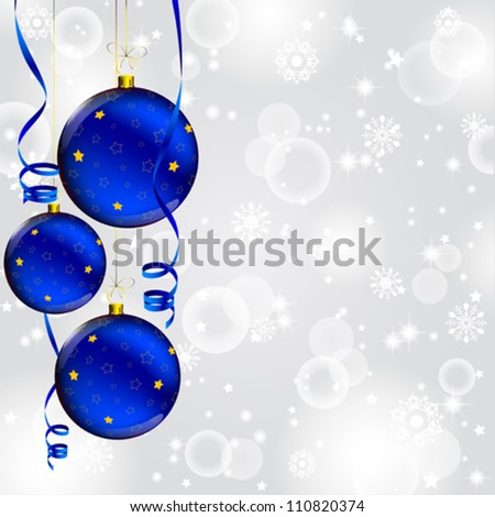 christmas ball with golden star decorated on abstract winter gray background