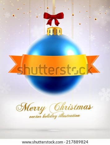 Christmas Ball with Ribbon. Xmas Decorations. Blur Silver Snowflakes. Holiday Design for New Year Greeting Cards, Posters and Flyers. Vector.  - stock vector