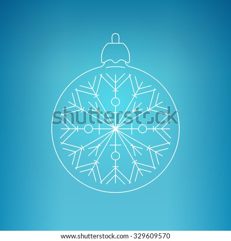 Christmas Ball with Snowflake , Christmas Ball  on a Blue Background , Christmas Tree Decoration, Drawing in the Contours,  Vector Illustration  - stock vector