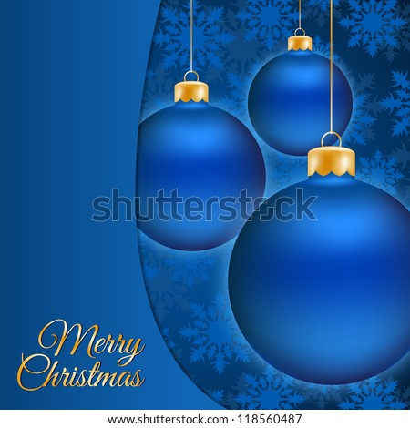 Christmas balls and blue background with place for text
