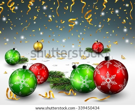 Christmas balls and gold confetti background - stock vector