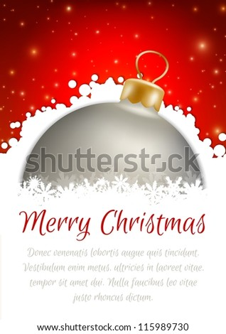 Christmas balls and red abstract background - stock vector