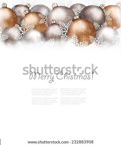 Christmas balls and snowflake on holiday background. Vector. - stock vector