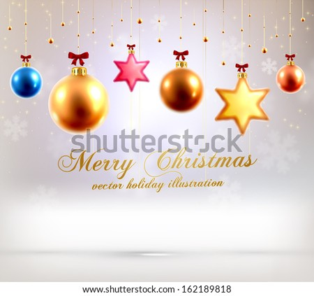 Christmas Balls and Stars. Xmas Decorations. Blur Silver Snowflakes. Vector. - stock vector