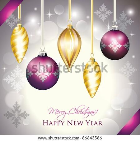 Christmas Balls Celebration Card - stock vector