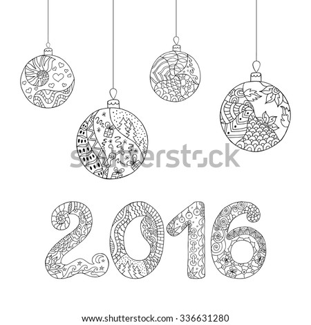 Christmas balls. Christmas greeting card with snowflakes in zentangle style. Vector illustration.