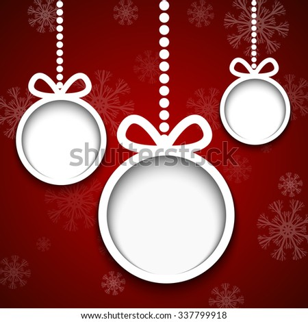 Christmas balls cut from paper on red background with snowflakes. - stock vector