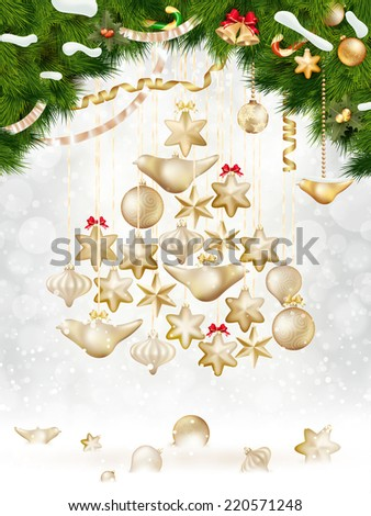 Christmas balls hanging on fir tree. EPS 10 vector file included - stock vector