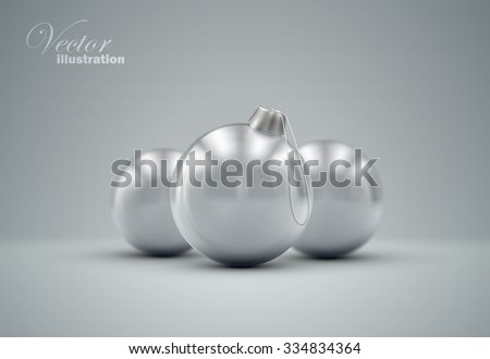 Christmas balls. Holiday vector illustration of traditional festive Xmas baubles. Merry Christmas and Happy New Year greeting card design element.  - stock vector