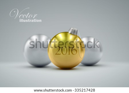 Christmas balls. Holiday vector illustration of traditional festive Xmas baubles. Merry Christmas and Happy New 2016 Year greeting card design element.  - stock vector