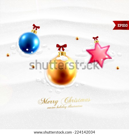 Christmas Balls in the Snow. Xmas Holiday Vector Illustration - stock vector