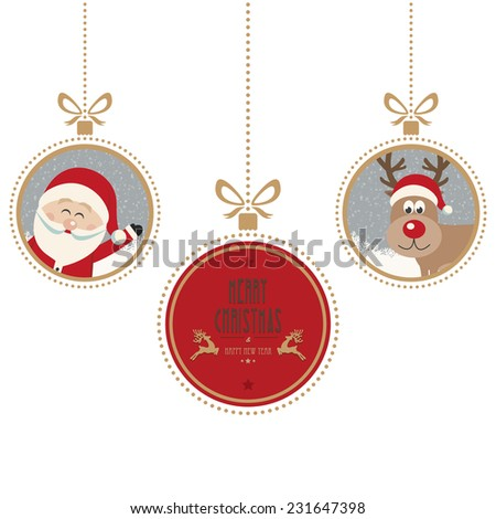 christmas balls merry christmas isolated background - stock vector