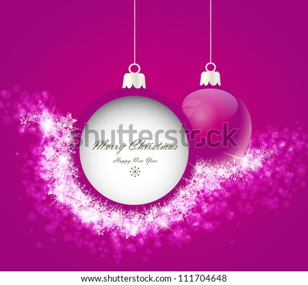 Christmas balls on abstract light background with snowflakes - stock vector