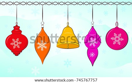 Christmas balls on winter background. Elements for decoration greeting card, wallpaper. Vector illustration.