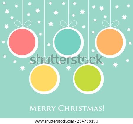 Christmas balls ornaments hanging. Vector illustration card - stock vector
