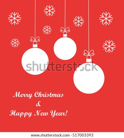 Christmas balls red background. Vector illustration