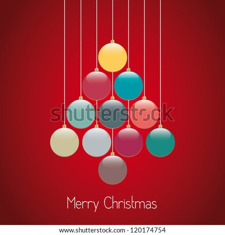 christmas balls tree hang twine red background