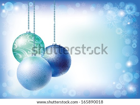 Christmas balls vector background blue