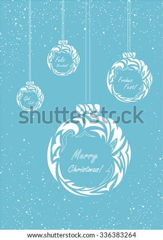 christmas balls with blue background and snowflakes