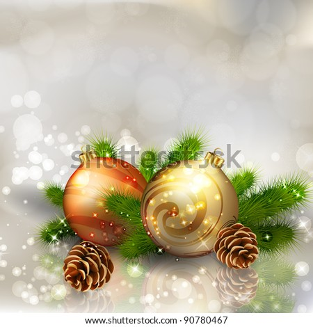 Christmas balls with fir branches on abstract light grey background. Vector eps10 illustration - stock vector