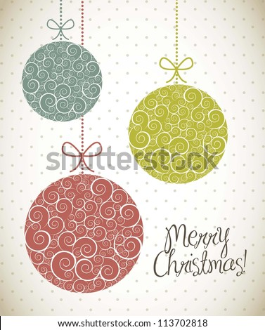 christmas balls with ornament, vintage style. vector illustration