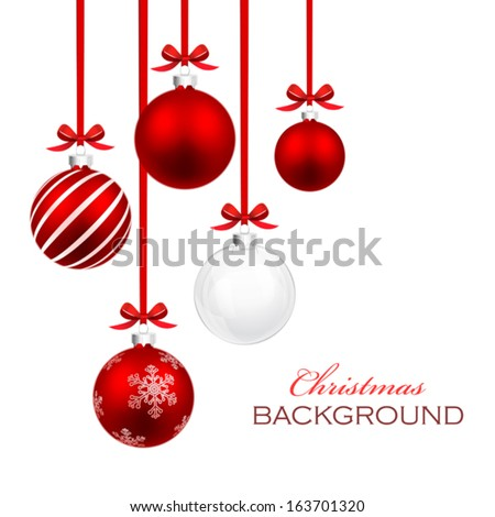Christmas balls with red ribbon and bows - stock vector