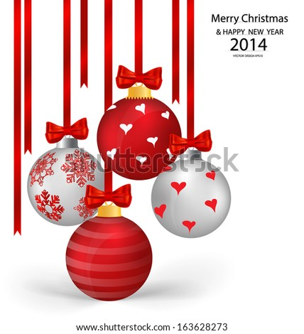 Christmas balls with ribbon and bow, vector illustration.